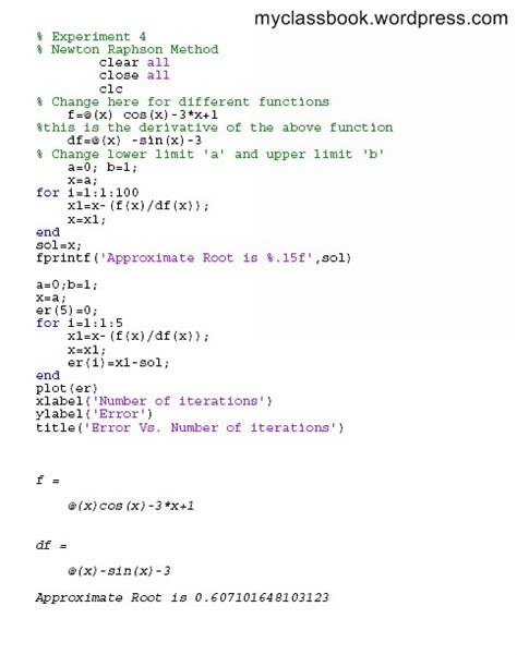 Newton Raphson Method Matlab Program Myclassbook