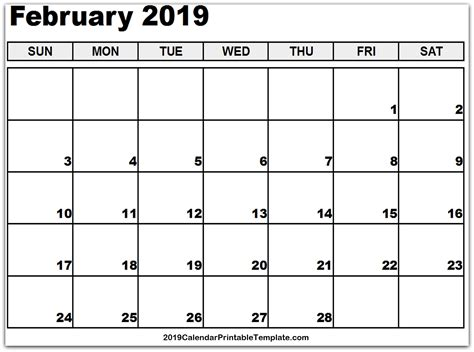 february calendar printable template holidays word excel