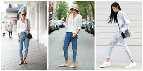 casual look with white shirt blue the fashion tag