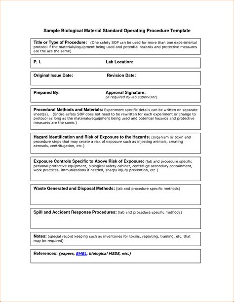 Standard Operating Procedure Template 10 Standard Operating Procedure Template