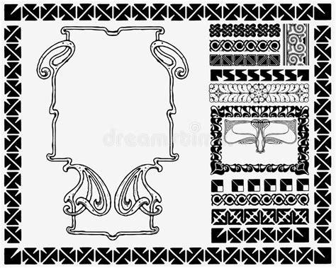 Art Nouveau Frame And Motifs. Royalty Free Stock Photos