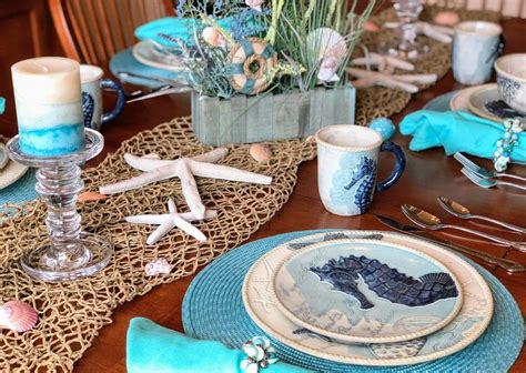coastal dinnerware decor beach theme table themed perfect dining mermaid decorations cracker barrel plates kitchen dishes room rogers winona months