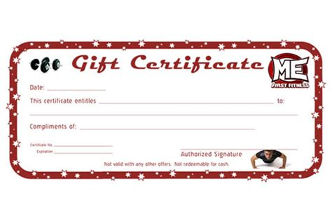 Personal Trainer Gift Certificate Template by Gift Certificate Template Personal Gallery