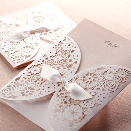 laser cut wedding invitations affordable laser cut blush pink lace wedding