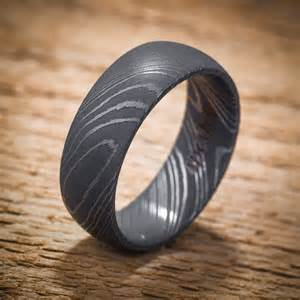 damascus stainless steel domed men s wedding band black