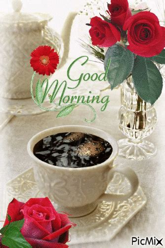 rosy tea good morning gif pictures   images