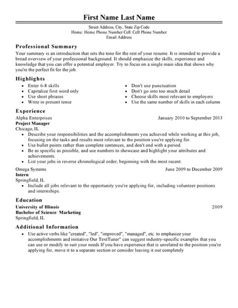 Exles Of Resume Templates by My Resume Templates