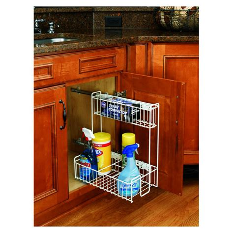 pull out cabinet shelves lowes shop rev a shelf pull out base organizer at lowes com