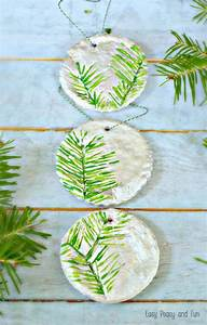 Pine Stamped Salt Dough Ornaments - Christmas Ornaments