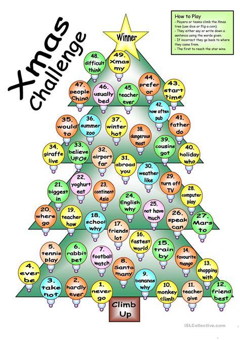 Board Game  Xmas Challenge Worksheet  Free Esl Printable Worksheets Made By Teachers