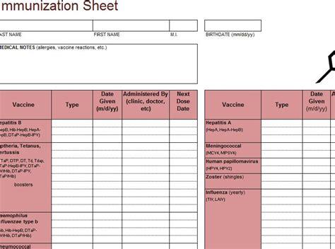immunization template tracker  excel templates