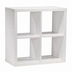 Bibliothèque 4 Cases : biblioth que 4 cases en mdf blanc rona ~ Teatrodelosmanantiales.com Idées de Décoration