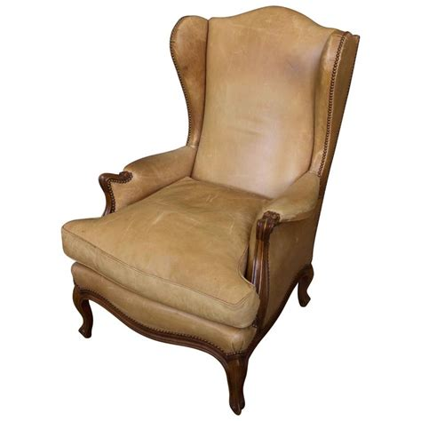 Armchairs For Sale by Louis Xv Style Leather Wingback Armchair For Sale At 1stdibs