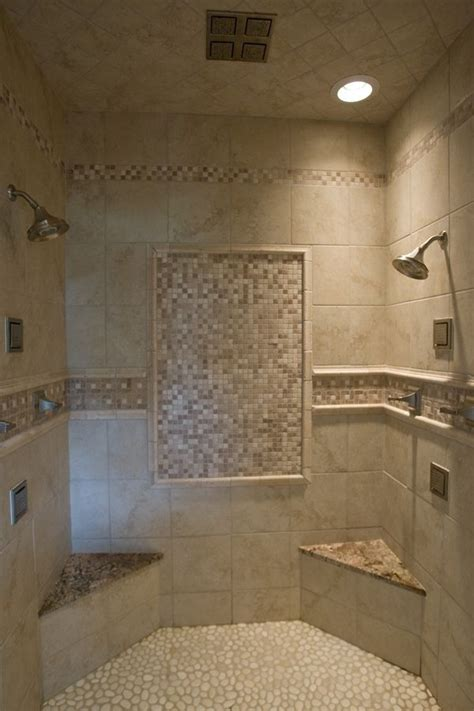 subway tile shower bench walk in tile shower with tile accents a pebble floor two