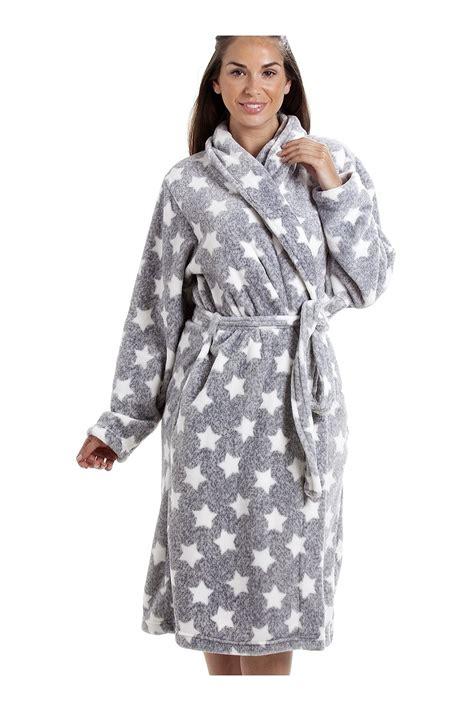 robe de chambre femme grey supersoft velour fleece white print shawl collar