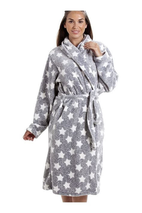 robe de chambre hiver femme grey supersoft velour fleece white print shawl collar