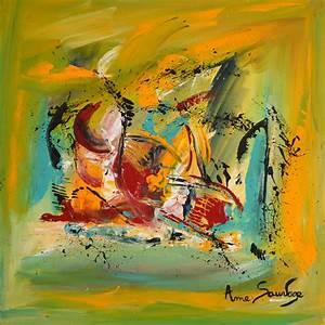 Tableau Peinture Moderne : peinture abstraite contemporaine vert jaune bleu rouge tableau moderne ~ Teatrodelosmanantiales.com Idées de Décoration