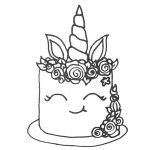 unicorn cake coloring pages birthday coloring book  printable coloring pages