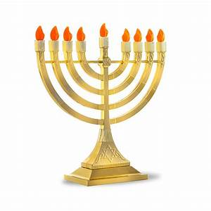 Hanukkah|Electric Menorah|Gold Tone Battery Operated Menorah