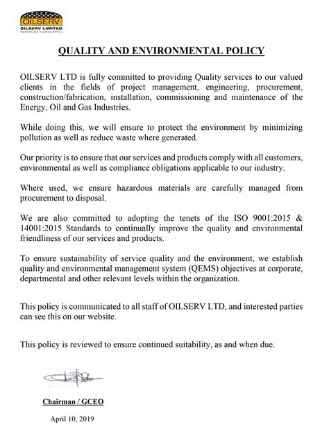 Our Quality - Oilserv Limited is an Oil and Gas