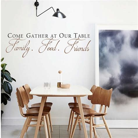 Beautiful wood tables ready for you to gather family and friends. Come Gather at our Table Decal Quotes Wall Sticker Vinyl Dining Room Wall Art Kitchen Quote Wall ...