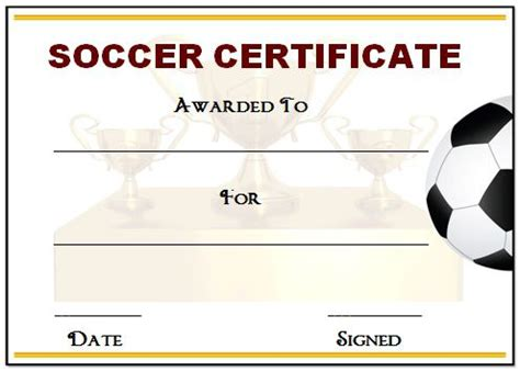 Soccer Award Certificate Templates Free by 30 Soccer Award Certificate Templates Free To