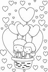 Coloring Couple Valentine Balloon Heart Couples Happy Adults Babies Inspiration Wecoloringpage Young Davemelillo sketch template