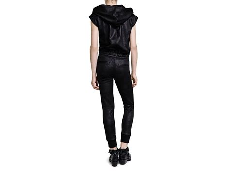 leather jumpsuits the kooples faux leather jumpsuit in black lyst