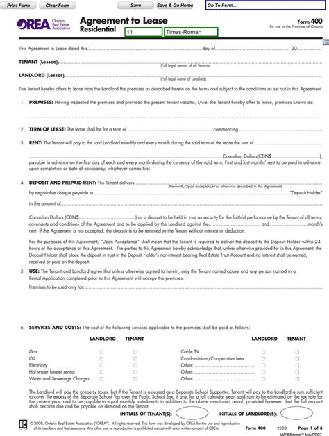 ontario agreement  lease residential form