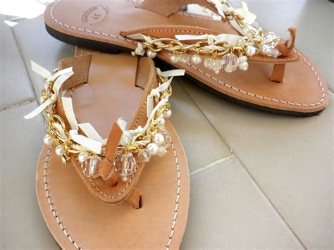 Wedding Sandals Boho Chic Leather Flip Flops Gold Chain