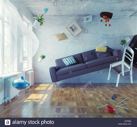 The Living Room Or Not by Zero Gravity Interior 3d Creative Concept Stock Photo