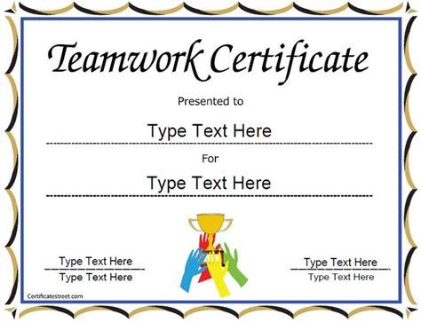 special certificate team work certificate