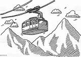 Cable Clipart Drawing Overhead Vector Mountains Istock Cliparts Illustration sketch template
