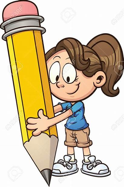 Writing Clipart Clip Pencil Boy Vector Holding