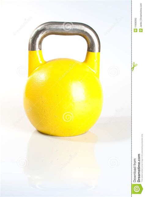 kettlebell yellow background kg preview dreamstime