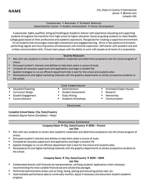 Academic Advisor Resume by Academic Advisor Resume Exle And Tips Zipjob