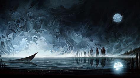 skulls sorcery gothic fantasy fantasy moon night
