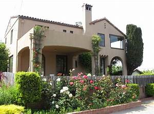 Small spanish style homes with dark cream wall paint ideas