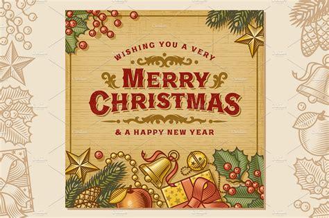 merry christmas vintage card illustrations creative market