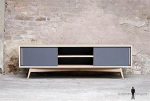 Meuble Tv Vintage : meuble tv bas chene bois made in france scandinave ~ Teatrodelosmanantiales.com Idées de Décoration