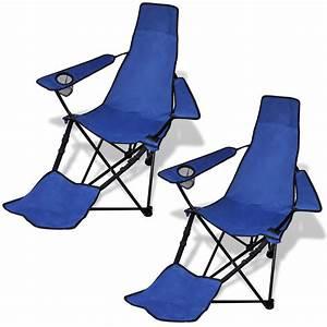 Only 4907 Camping Chaise Pliante Bleu Avec Jeu De 2