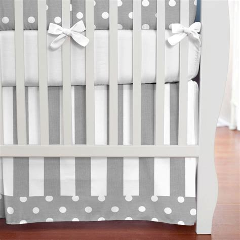 grey and white crib gray and white dots and stripes crib skirt box pleat