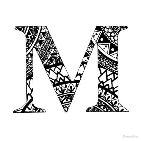 Kleurplaat Mandala Letters by Quot M Letter Mandala Letter Name Personal Mandala Quot By