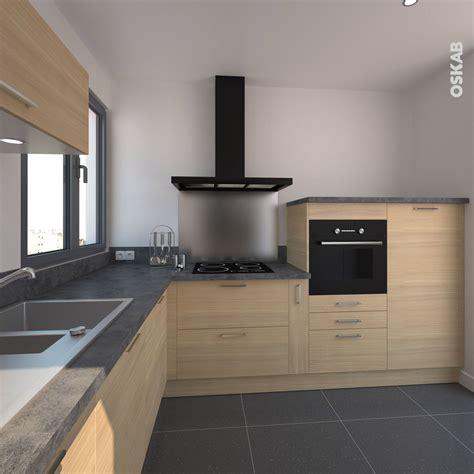 modele de hotte de cuisine cuisine en bois clair structuré stilo noyer blanchi