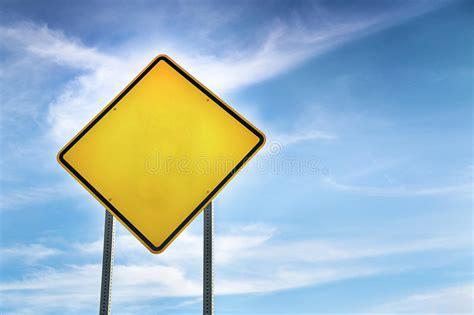 Blank, Yellow Road Warning Sign Stock Image - Image of ...
