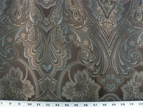 Teal And Brown Upholstery Fabric by Drapery Upholstery Fabric Large Scale Jacquard Floral