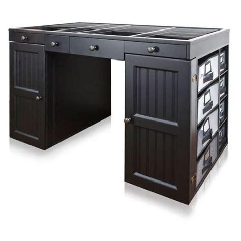 black desk with storage scrapbox ez view craft desk with storage with black color