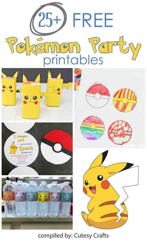 pokemon party printables cutesy crafts