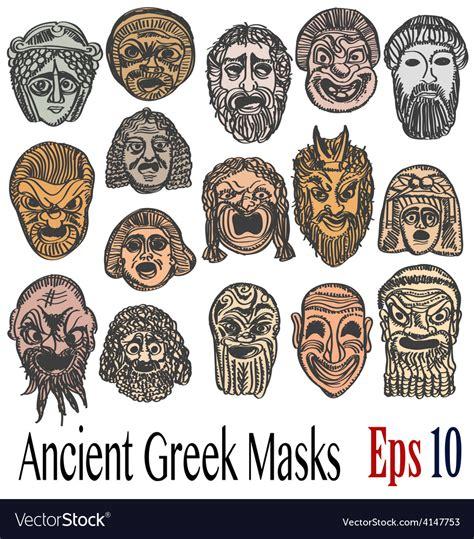 Ancient Mask Template Ancient Masks Royalty Free Vector Image Vectorstock