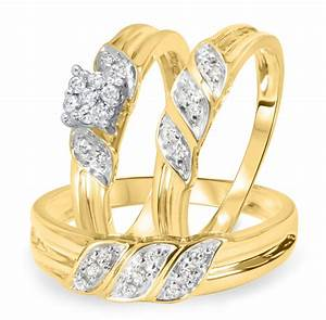 1 4 carat diamond trio wedding ring set 14k yellow gold With trio ring wedding set